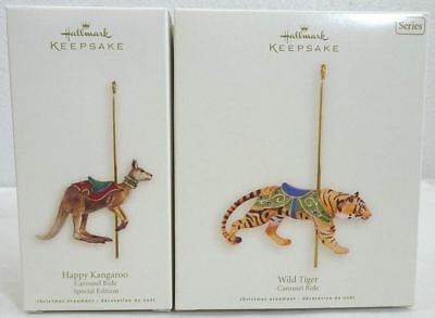 2008 Hallmark Carousel Ride Wild Tiger & Happy Kangaroo Keepsake Ornaments*