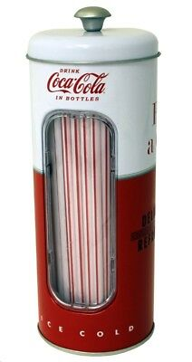Straw Holder - Coca Cola - Coke 2017 w/50 straws Metal Tin tin771587