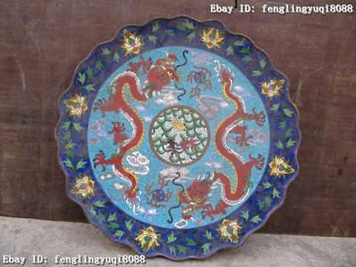 Chinese Regius Palace Copper cloisonne Two Dragon Play Bead Dish Plate