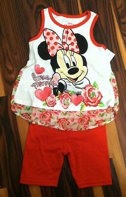 Toddler Girl's Disney Brand size 2T Minnie Mouse Tank Top and Short Set NWT