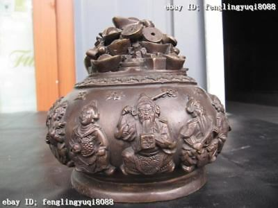 Chinese Superb Bronze Copper Five God of Wealth With Money Pot Crock Jar Vase