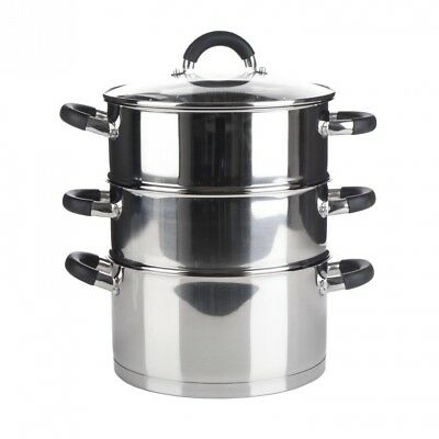 Premium Quality 3 Tier Induction Compatible Stainless Steel Steamer Pot Set