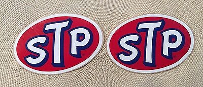 """NOS VINTAGE STP STICKER NASCAR RICHARD PETTY RACING  Decal  4""""X 2 5/8 LOT of TWO"""