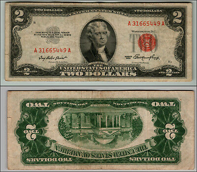 1953 $2 Dollar Bill Old Us Note Legal Tender Paper Money Currency Red Seal #j825