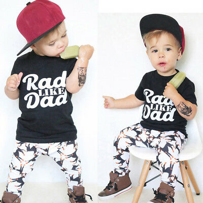 Baby Toddler Fashion Kids Boy Letter Print Tops Shirt Pants Outfit Set Clothes