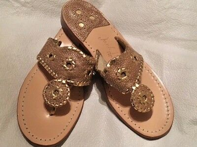 7a6e7d07a Jack Rogers Navajo Hamptons Gold Beige Leather Thong Flat Sandals Us 7.5 New
