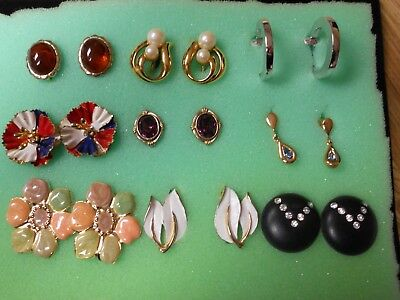Lot Of 9 Pair Of Vintage Lever Back Earrings From Estate Sale