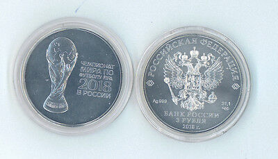 Russia 2018 World Cup Football 3 Rouble Silver 1 Oz Bullion Coin SPMD