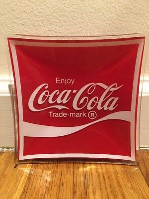 Coca Cola Ashtray Painted Red Glass Display Tray Collectible Sign Table Coke