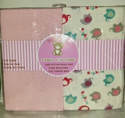 Honey Baby Pink Elephant Toddler Bed or Crib Sheets 2-Pack (100% Cotton Jersey)