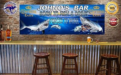 CORONA  BORN TO FISH MANCAVE BANNER Work Shop Garage Shed Bar Whisky
