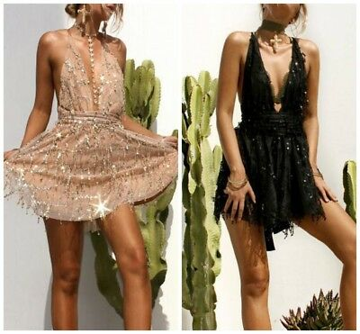 Deep V Neck Sexy Women's Sequins Bandage Evening Cocktail Party Club Mini Dress