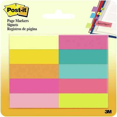 """Post-It Page Markers .5""""X1.75"""" 10/Pkg Assorted Bright 051141944784"""