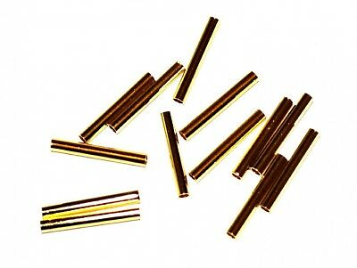Markylis - 50 Gold Plated Tube Jewellery Craft Smooth Metal Beads - 35mm
