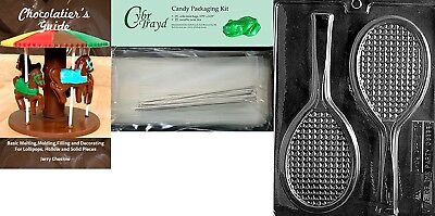 Cybrtrayd Tennis Racquet Chocolate Mould with Chocolatier's Bundle, Includes