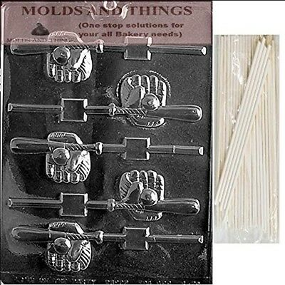 BASEBALL BAT,GLOVE,BALL POP Chocolate Candy Mould With © Moulding Instruction