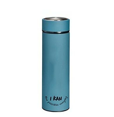 (Blue) - IKAN Double wall vacuum stainless steel water bottle with bonus