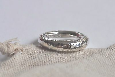 Contemporary Handmade Sterling Silver Hammer Finish Round Ring Size N (Us 7)