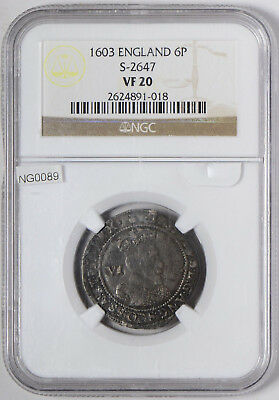 1603 Great Britain Sixpence, NGC VF-20