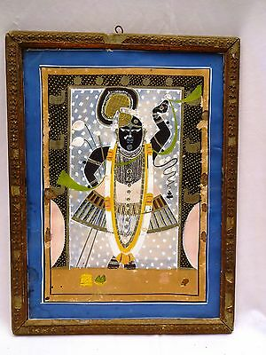 Antique Miniature Painting Of Lord Krishna/shreenathji Water Color Collectible