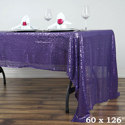 """90x156/"""" Purple SEQUIN RECTANGLE TABLECLOTH Wedding Party Catering Linens SALE"""