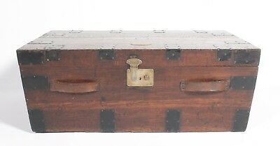 Rare Unusual Early C19th Antique Oak Travel Carriage Postal Trunk Strong Box