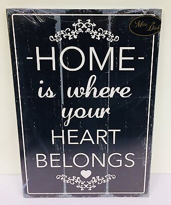 Vintage Style Shabby Chic Large Wooden Plaque - Home