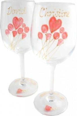 Personalised 40th Wedding Anniversary Wine Glasses Pair. Dreamairshop Ltd UK