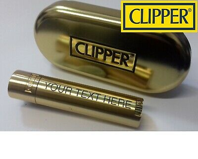 CLIPPER Engraved GOLD Personalised Steel Metal Lighter Birthday Valentines Gift