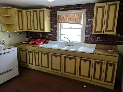 American Kitchens AVCO steel kitchen cabinets and sink