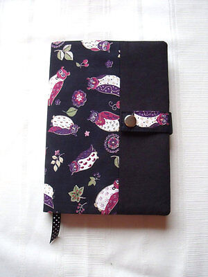 Reusable A5 Diary / Book Cover WITH NOTEBOOK / Diary Black Owls Cotton Handmade