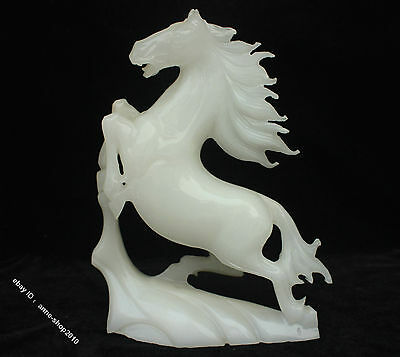 25cm Chinese 100% White Jade Jadeite Hand-carved Horse Horses Success Statue
