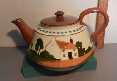 A LARGE Watcombe pottery Tea pot cottage motto