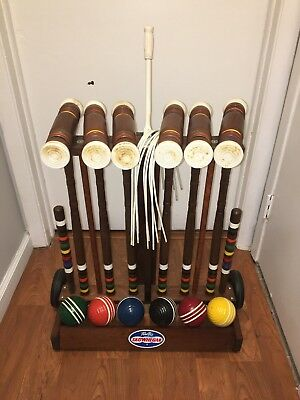Forsters Skowhegan Croquet Set With Stand Cart Vintage Antique