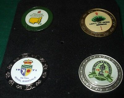Boxed set of 4 stemmed Golf ball marker 1971 Majors US Open, PGA, Masters etc