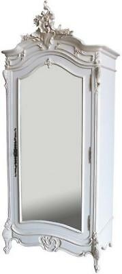 Antique White Mahogany French Armoire H230 W104cm Carved Mirror Door Wardrobe