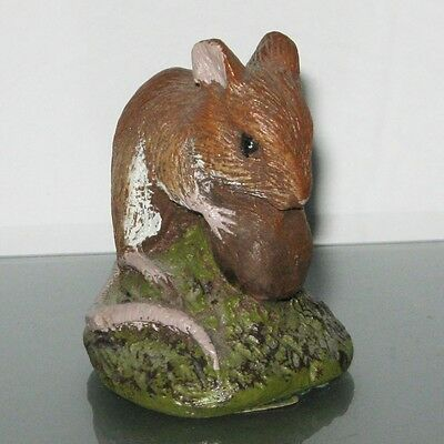 P. J. Dutt Hand Made England Brown Mouse with Nut Sculpture Figurine