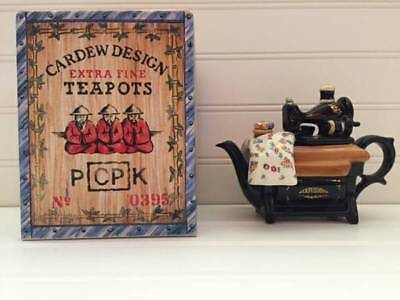 "Paul Cardew Signed ""Sewing Machine"" Novelty One Cup Vintage Collectible Teapot"