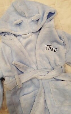 Dressing gown Hooded Fleece Robe Blue  1-2 years personalised name - THEO