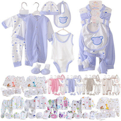 8pcs/5pcs Newborn Baby Clothes Unisex Infant Outfits Layette Set With Stripe Dot