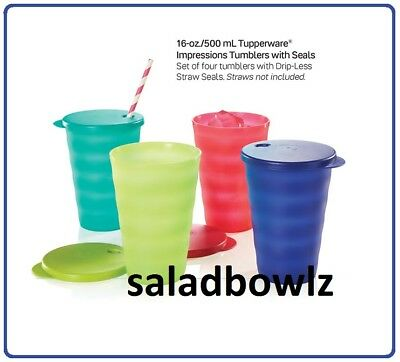 TUPPERWARE New IMPRESSIONS 16 OZ DRIPLESS TUMBLERS 4-Cup Set w/Seals New Colors!
