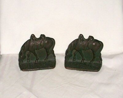 Old Small Cast Iron Grazing Horse Rustic Farm Country Decor Bookends