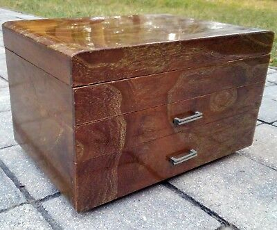 Vintage Asian wooden jewelry box wood chest 2 drawer Mid-Century Japan