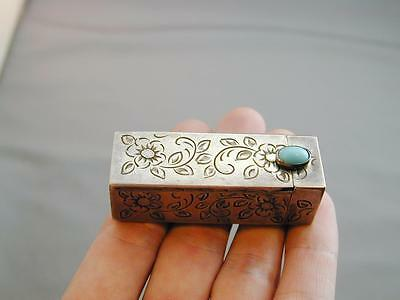 Vintage 800 Silver Etched Scroll Lipstick Holder w/Mirror & Turquoise Stone