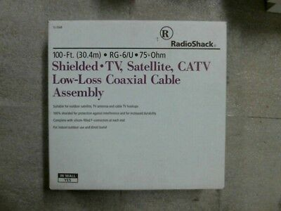 NIB RadioShack 100 Foot Shielded Low-Loss Coaxial Cable Assembly 75 Ohm RG-6/U