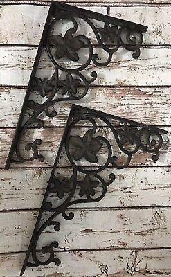 Vintage Large Cast Iron Corbel Solid Heavy Brace Durable Mounting Holes Flowers