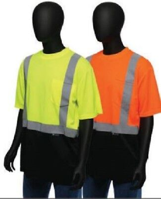 Hi Vis T Shirt ANSI Class II Reflective Safety Short Sleeve HIGH VISIBILITY M-4X