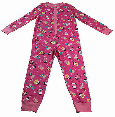 Girls All in One Pyjamas Nightwear Cotton Pink Penguins Size Ages 12-18 Months