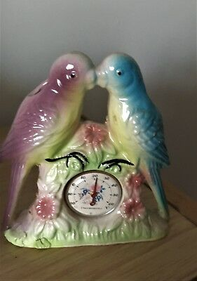 Vintage Budgerigar Vase With Thermometer