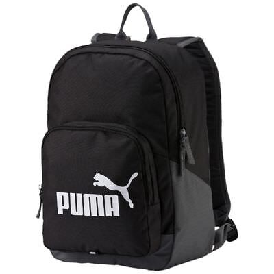 Puma Black PHASE Backpack Rucksack School Gym Training Office Sports  Travel